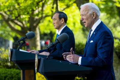 United States President Joe Biden and The Prime Minister of Japan Yoshihide Suga walk on the Colonnade prior to their joint news conference at the White House, Washington, District of Columbia, United States 16 Apr 2021 (Photo: Reuters/Doug Mills).