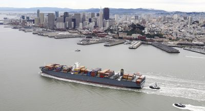 The MSC Fabiola passes the San Francisco, California, waterfront as it heads to the Port of Oakland on 21 March 2012 (Photo: Aric Crabb/Oakland Tribune/MCT/ABACAPRESS.COM via Reuters).