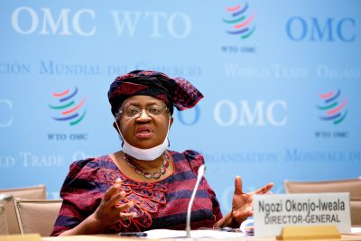 Director-General of the World Trade Organisation (WTO) Ngozi Okonjo-Iweala speaks during a press conference remotely on the annual global WTO trade forecast at the WTO headquarters in Geneva, Switzerland, 31 March 2021 (Photo: Salvatore Di Nolfi/Pool via Reuters).