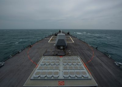 United States Navy Arleigh Burke-class guided-missile destroyer USS John Finn (DDG 113) transits the Taiwan Strait, 10 March 2021 (Photo: Jason Waite/US Navy/Reuters).