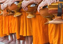 Monks Alms Rounds in Thailand  Showing Humbleness