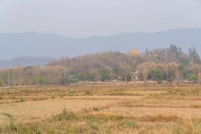 brume et paysage sec en avril - thailande