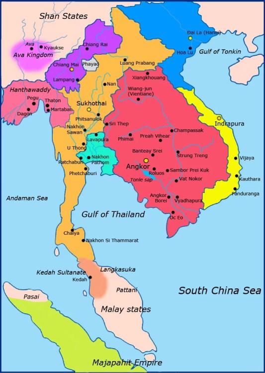 carte des royaumes asie du sud est vers 1300