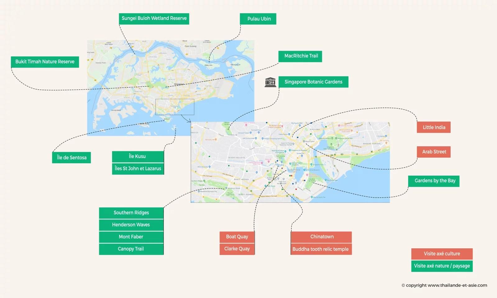 carte singapour - points interets voir et faire