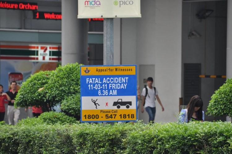 panneau recherche temoin accident route singapour