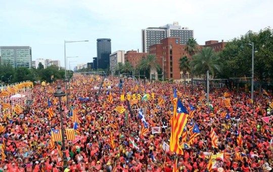 About a million people joined the 11 September celebrations in Avenida Diagonal of Barcelona