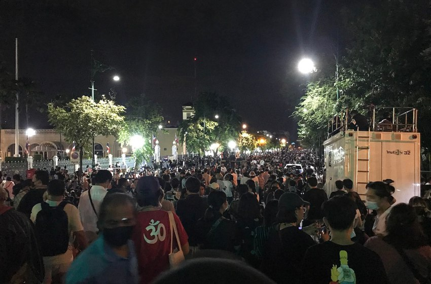 Anti-government protest in front of the Government House in Bangkok on 14 October 2020