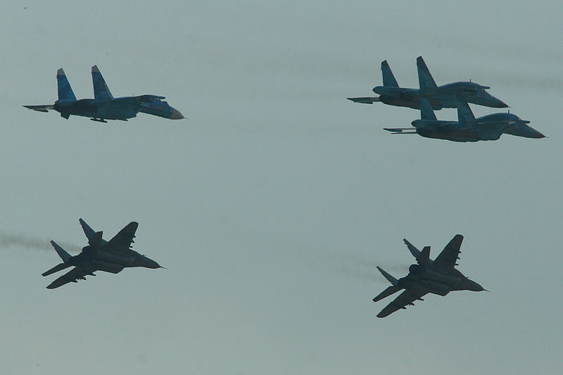 Russian fighter formation. Russian Air Force 100th Anniversary Airshow. Zhukovsky, Russia