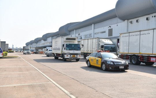 The Covid -19 vaccine AstraZeneca being transported to a temperature control warehouse.