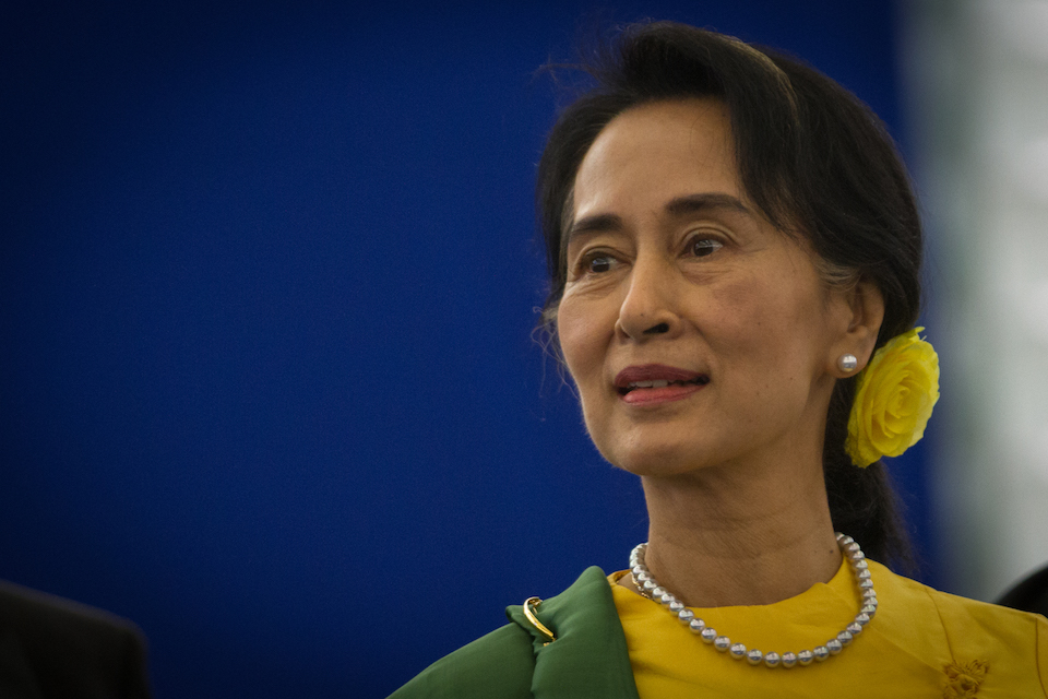 Aung San Suu Kyi at the European Parliament in Strasbourg