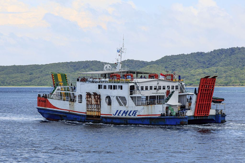 "The ferry ""KMP Gilimanuk"" in the Bali Strait between Banyuwangi and Gilimanuk, Indonesia."