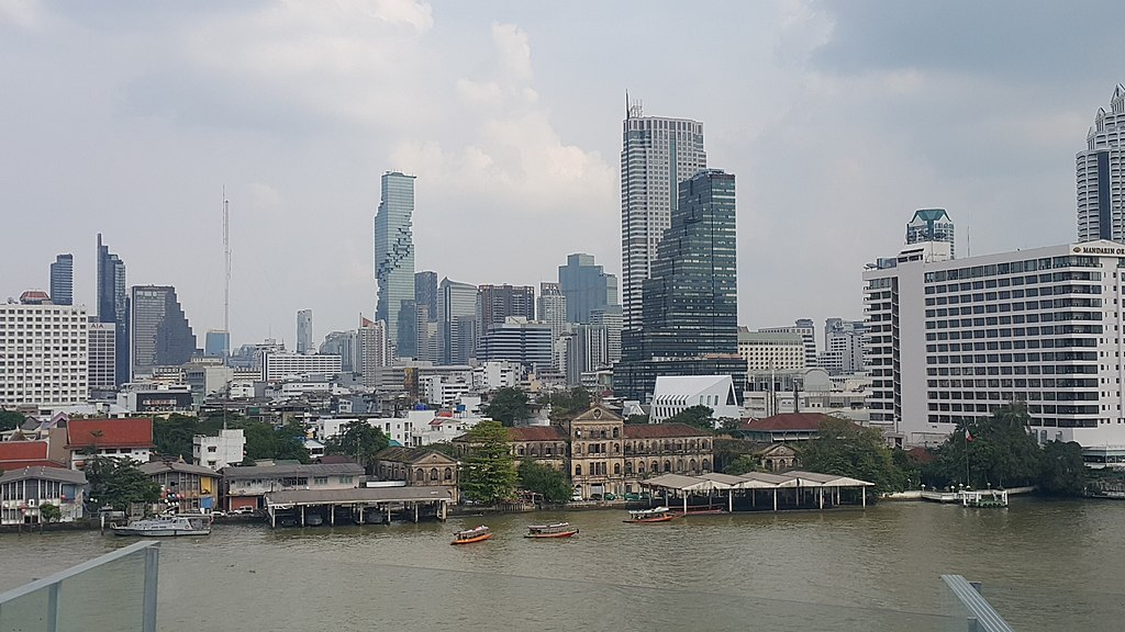 Bangrak District and the Chao Phraya River in Bangklok as seen from ICONSIAM