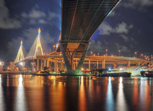 The Bhumibol Bridge in Bangkok at night