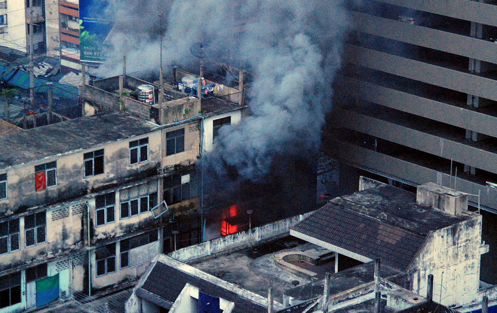 A shop on Rama 4 Road in Bangkok on fire during the UDD protests in 2010