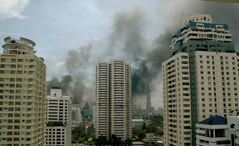 Building on fire in Bangkok