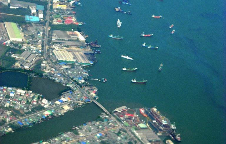 The Chao Phraya Rive and Khlong Toei Port in Bangkok