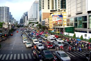 Traffic jam in Bangkok, one of the world's most congested cities