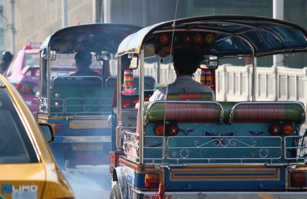 Traffic in Bangkok, taxis and tuk tuks