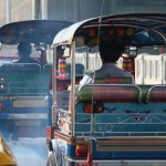 Traffic in Bangkok, taxis and tuk tuks