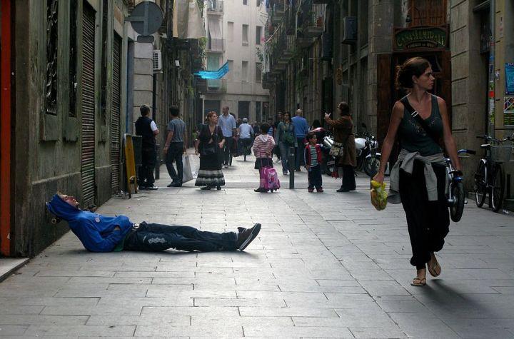 Dangerous street in El Raval, Barcelona