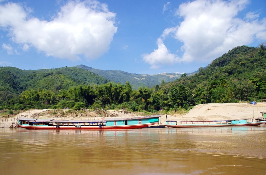 Boats on the Mekong River in Laos