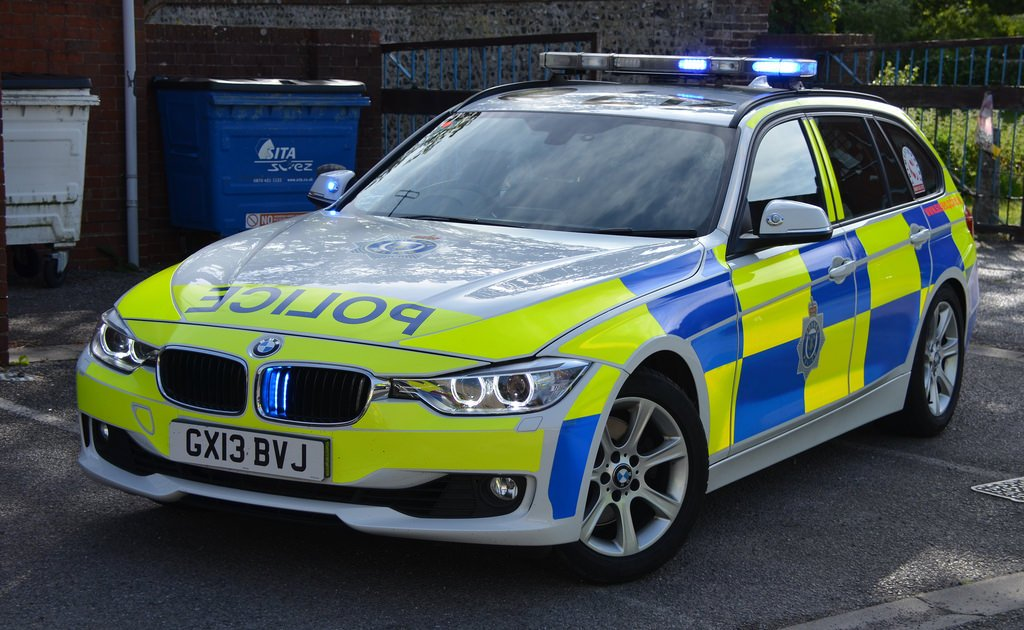 British Police BMW 330d car in Sussex