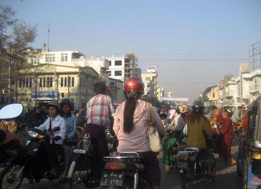 Street junction in Mandalay, Myanmar