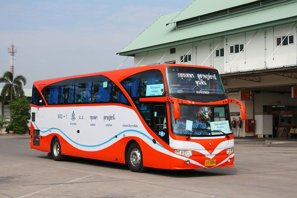 Bus to Surat Thani at Bangkok Southern bus terminal.
