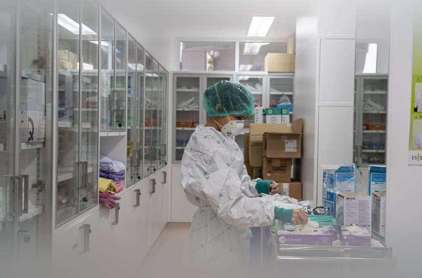 A nurse at the hospital during COVID-19 coronavirus pandemic in April 2020