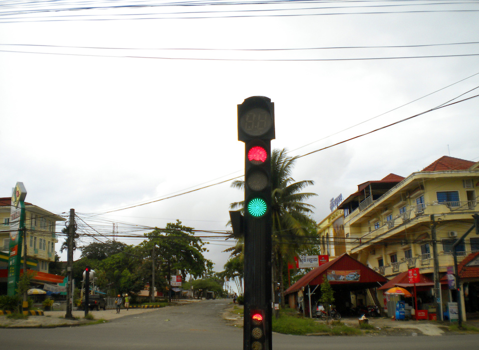 Traffic light on a street in Cambodia