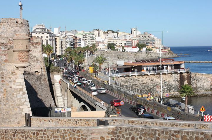 View of Ceuta, a Spanish autonomous city on the north coast of Africa. Bordered by Morocco