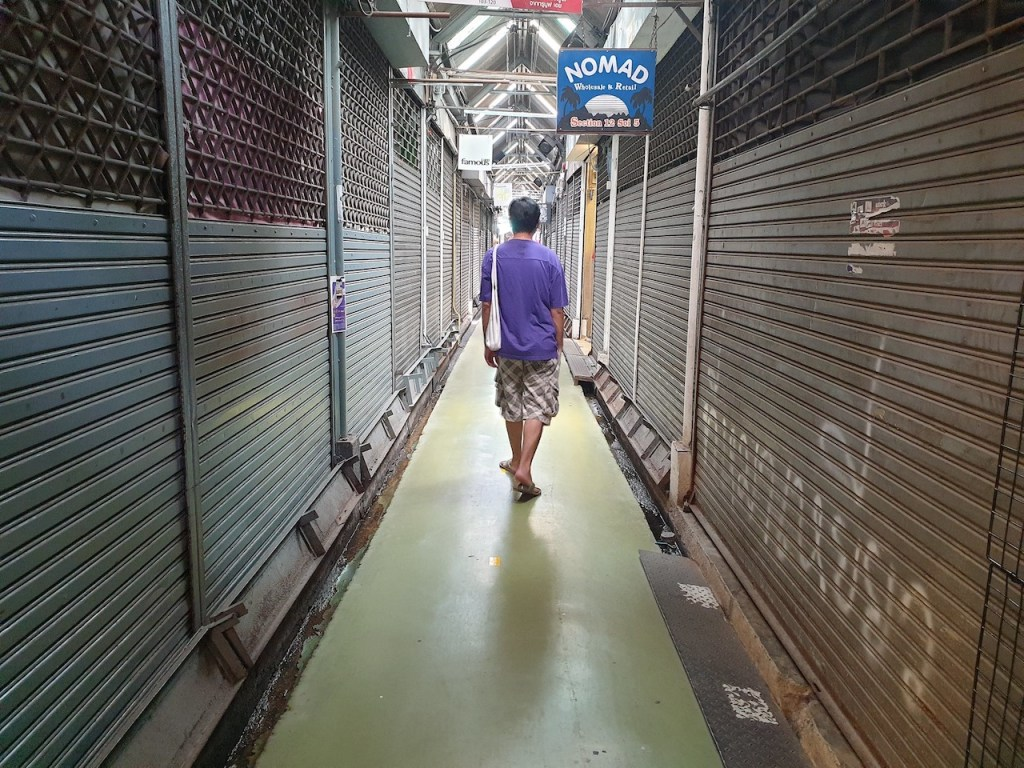 Quiet Chatuchak market in Bangkok. The market is empty due to COVID-19 pandemic and lack of tourists
