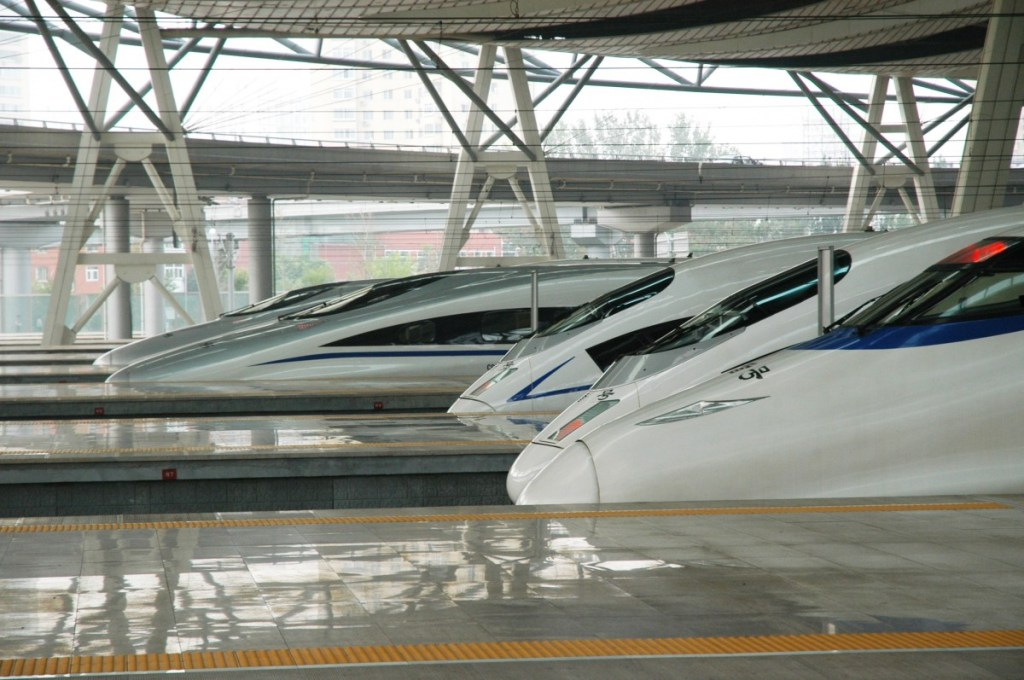 High speed train at railway station in China