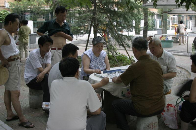 Chinese people playing Mahjong