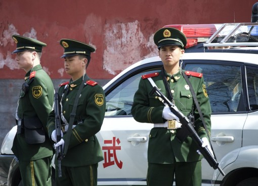 Chinese police officers on duty
