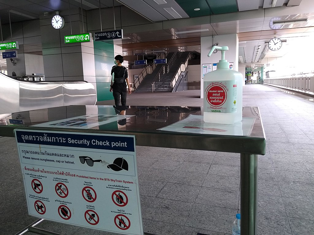 A bottle of hand sanitizer for passengers to use at Ha Yaek Lat Phrao Station in Bangkok on March 1, 2020 amid the COVID-19 Coronavirus outbreak