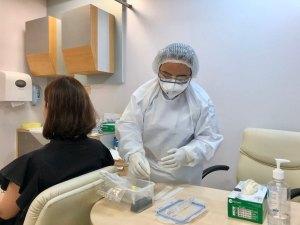 COVID-19 coronavirus testing at BNH Hospital, Bangkok