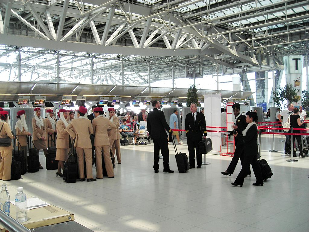 Emirates aircrew at Suvarnabhumi Airport in Bangkok