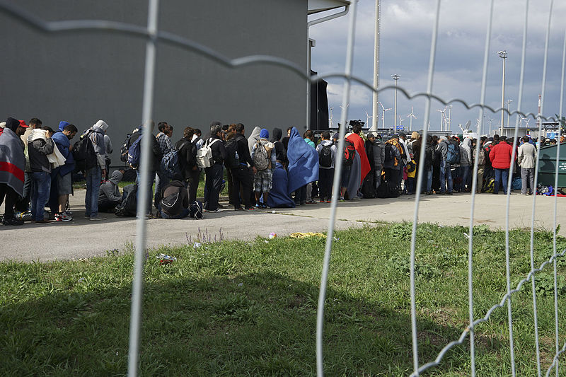 Line of Syrian refugees crossing the border of Hungary and Austria on their way to Germany
