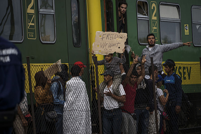 Syrian refugees strike in Hungary