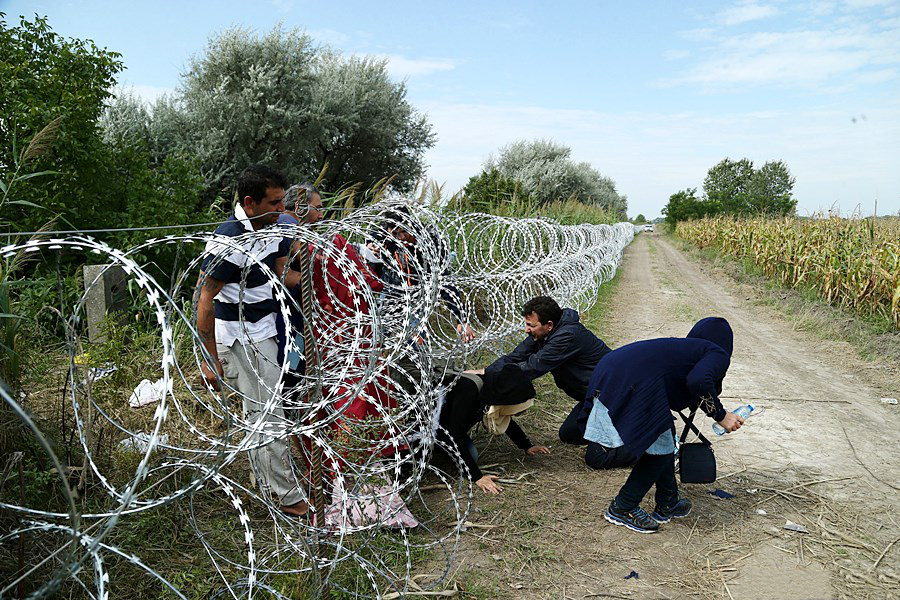 Refugees in Hungary near the Serbian border
