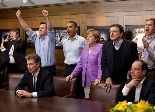 Prime Minister David Cameron of the United Kingdom, President Barack Obama, Chancellor Angela Merkel of Germany, José Manuel Barroso, President of the European Commission, and others watch the overtime shootout of the Chelsea vs. Bayern Munich Champions League final in the Laurel Cabin conference room