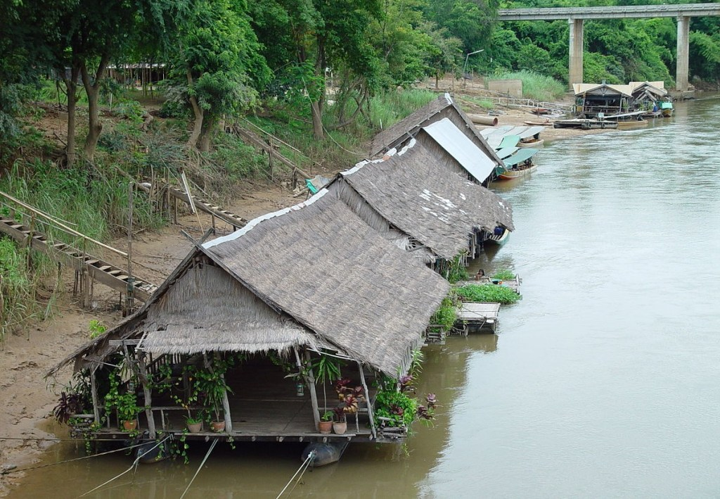 Floating houses on the River Kwai, Kanchanaburi.