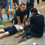 Foreigner performing a life saving CPR at Lumpini Park in Bangkok