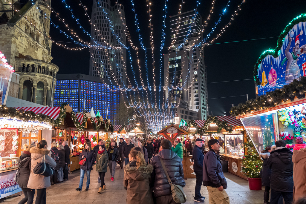 Christmas market near Kaiser Wilhelm Church in Berlin, Germany