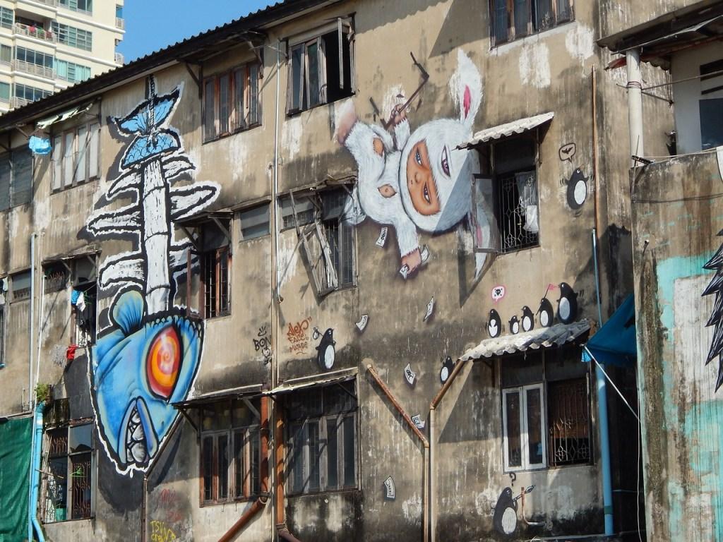 Graffiti on a building in Bangkok