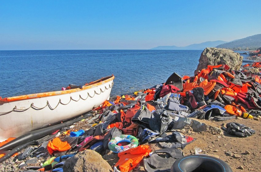 Boat and life jackets belonging to refugees in Lesvos, Greece