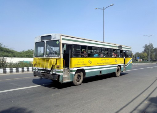 Yellow old bus in India