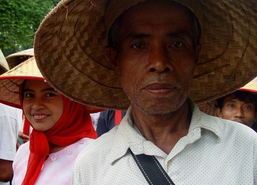 Indonesian farmer protesting for land rights in Jakarta Indonesia