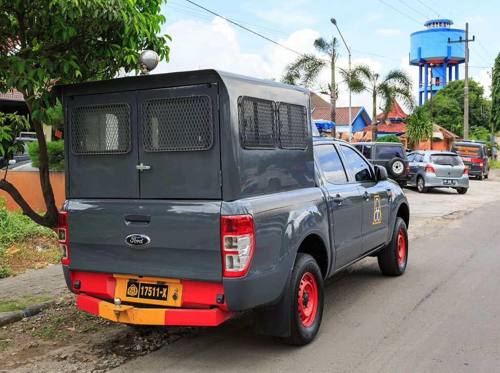 Ford Ranger police car with prisoner compartment in Madiun, Indonesia